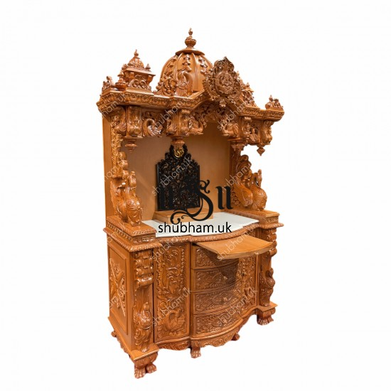 Designer Teak wood Puja Temple with high drawers