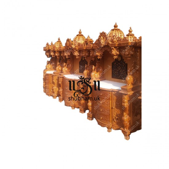 Designer Teak wood Puja Temple with drawers