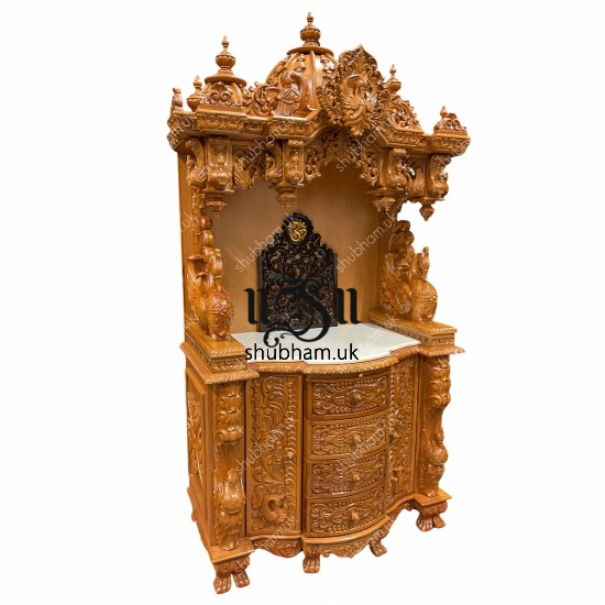 Engraved Beautifully high drawer Teak Wooden Temple UK