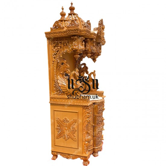 Superior Quality Teak Wooden Temple Puja Mandir for Home