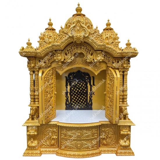 Exquisite Sevan Wood Gold Puja Ghar Mandir Wooden Temple UK