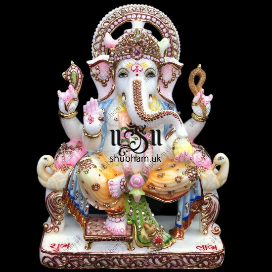God of beginnings, Ganesh Ji Peacock Seat Marble Statue - 12 inch