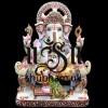 God of beginnings, Ganesh Ji Peacock Seat Marble Statue - 12 inch