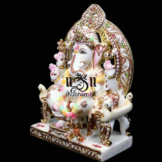 Beautiful Ganesha Seated on Peacock Sinhasan - 13 inch