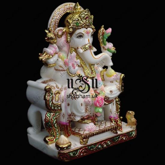 White Marble Hand Carved Ganeshji Murti - 15 inch