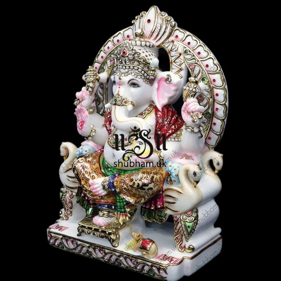 God Ganapati seated on Peacock Sinhasan - 15 inch