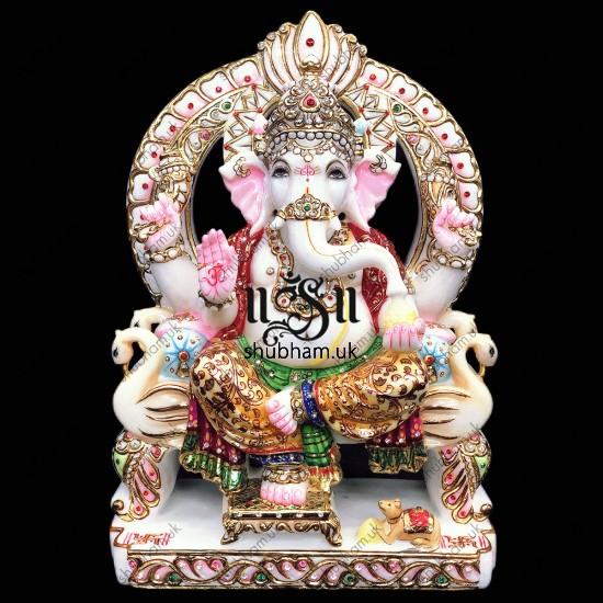 God Ganapati seated on Peacock Sinhasan - 15 inch