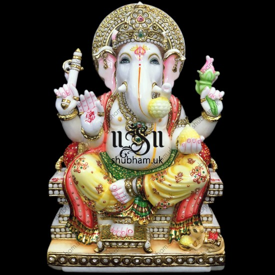 Beautiful White Marble Ganesh ji Murti UK - 18 inch