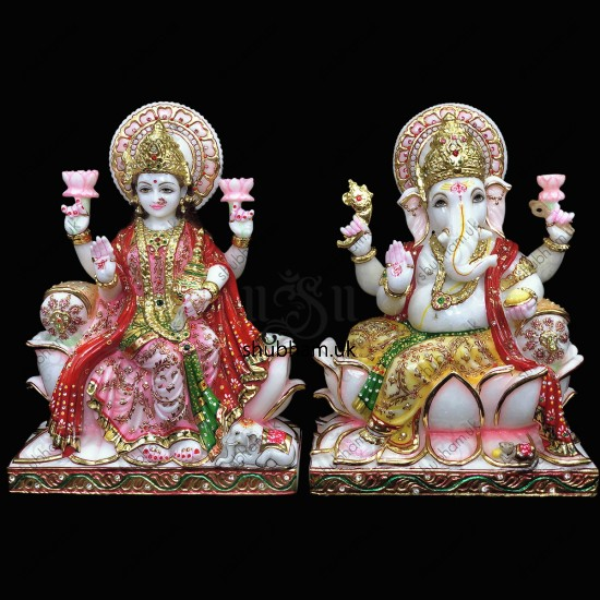Hindu God Ganesh Ji and Laxmi Mata Seated on Lotus - 15 inch