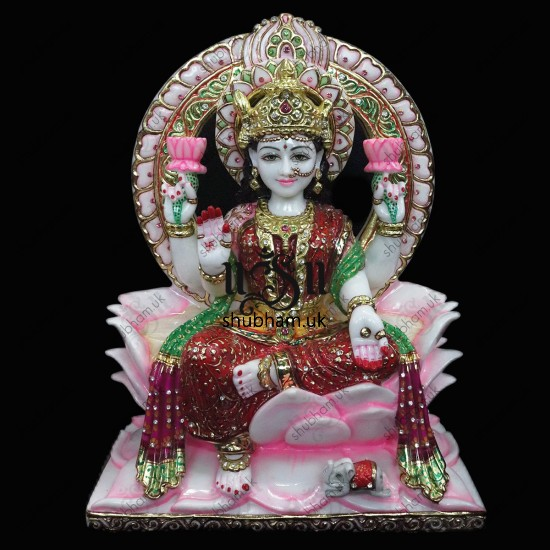 Ganesha and Laxmi Mata Seated on Lotus Sinhasan UK - 15 inch