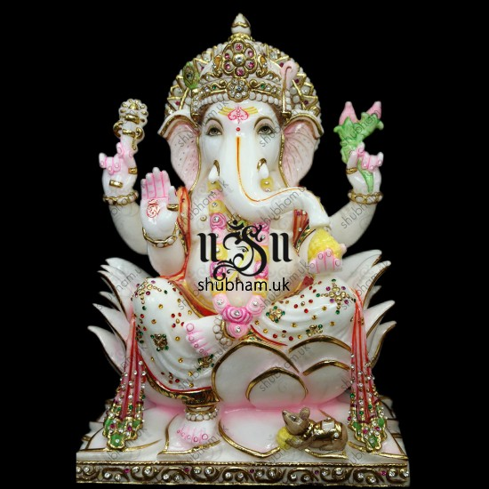 Ganesh Ji and Laxmi Mata Seated on Lotus flower - 15 inch