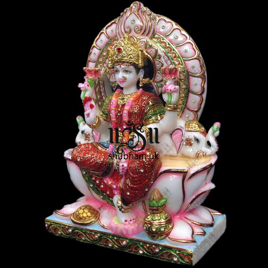 Elegant Crafted Laxmi Mata Seated on Beautiful Sinhasan - 13 inch