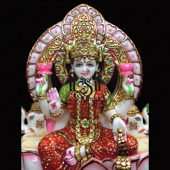 Beautiful White Marble Goddess of Wealth Laxmi Mata Statue - 18 inch