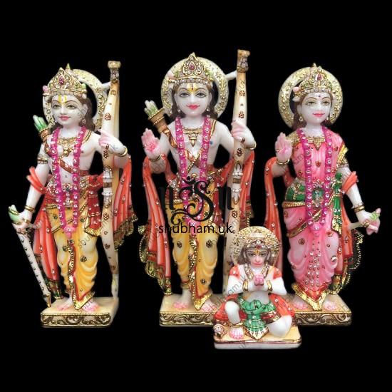 Beautiful Family Ram Darbar Marble Murti UK - 12 inch