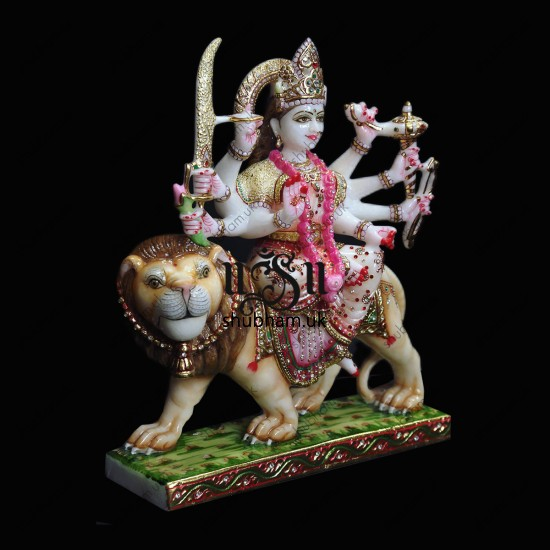 Maa Durga On Lion From White Marble Stone - 15 inch
