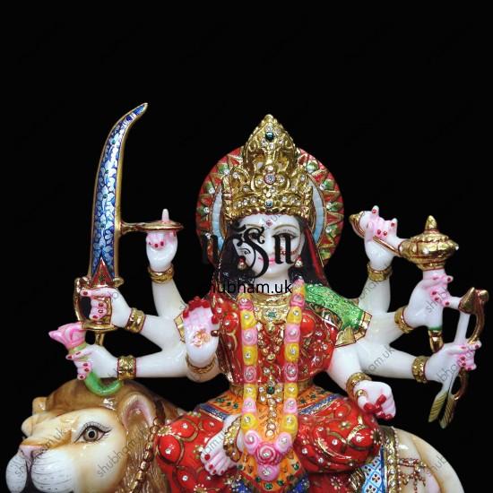 Marble Durga Mata Murti with Painting - 15 inch