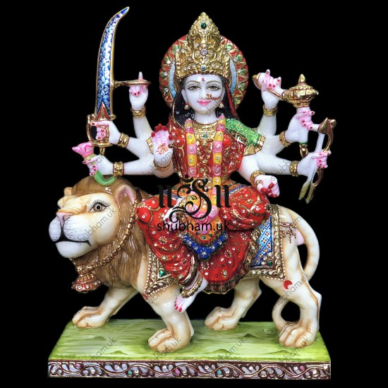 Marble Durga Mata Murti with Painting - 15 inch