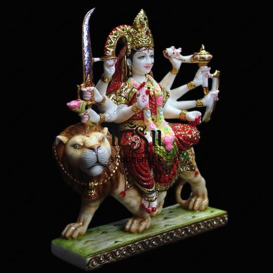 Superior Quality Marble Durga Mata Murti  UK - 18 inch