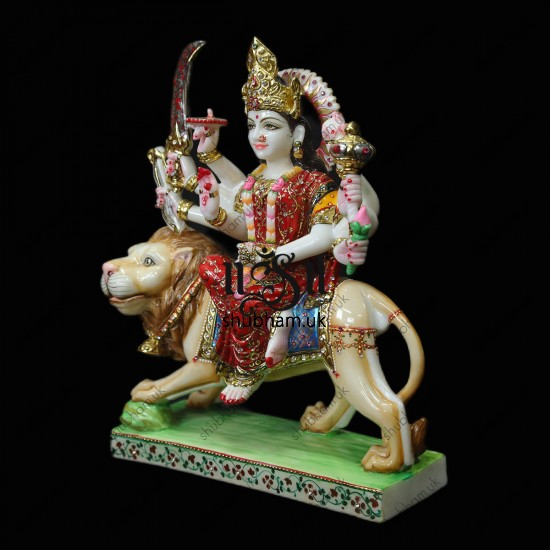 Goddess Durga Statue from White Marble - 16 inch