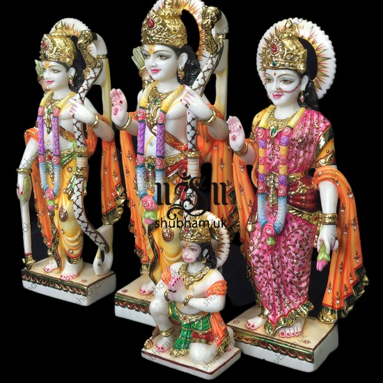 Hand Crafted Beautiful Ram Darbar Marble Statue Set - 18 inch