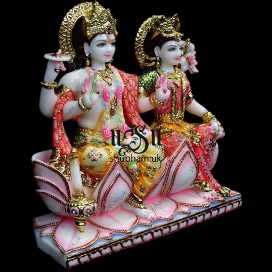Laxmi Mata and Vishnu Ji Seated on Lotus Flower - White Marble Statue - 15 inch