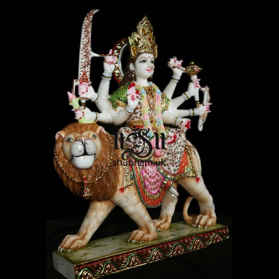 Exclusive Goddess Durga Maa made with Pure White Marble - 27 inch