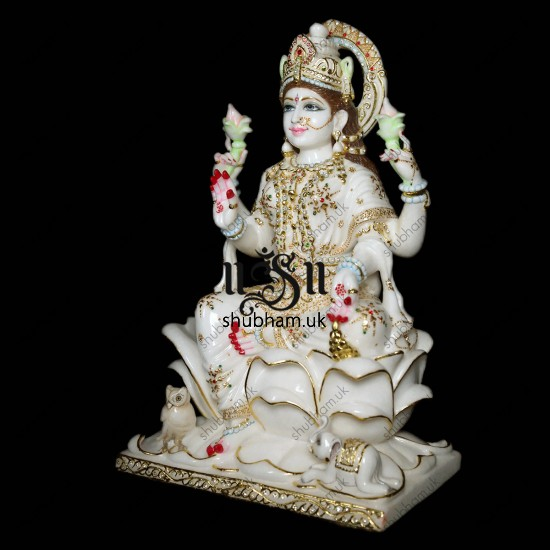 Exquisitely Crafted Pure White Marble Laxmi Mata Murti - 24 inch
