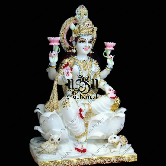 Magnificent Laxmi Mata Seated on Lotus Flower Marble Statue - 30 inch