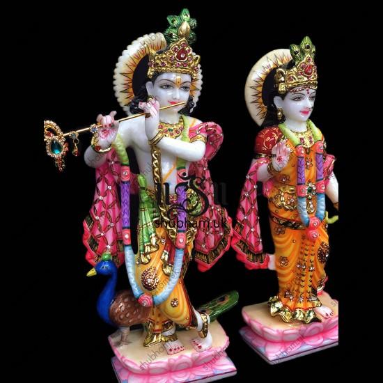 Standing Radha Krishna Marble Moorti with Ashrivad Hand - 15 inch