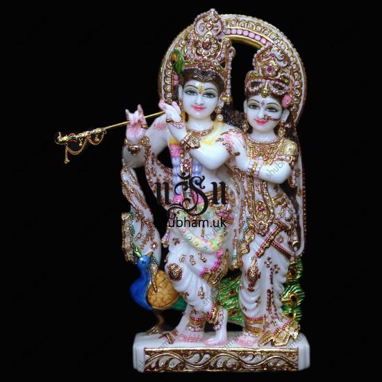 Radha Krishna Murti From Pure White Marble Stone - 18 inch