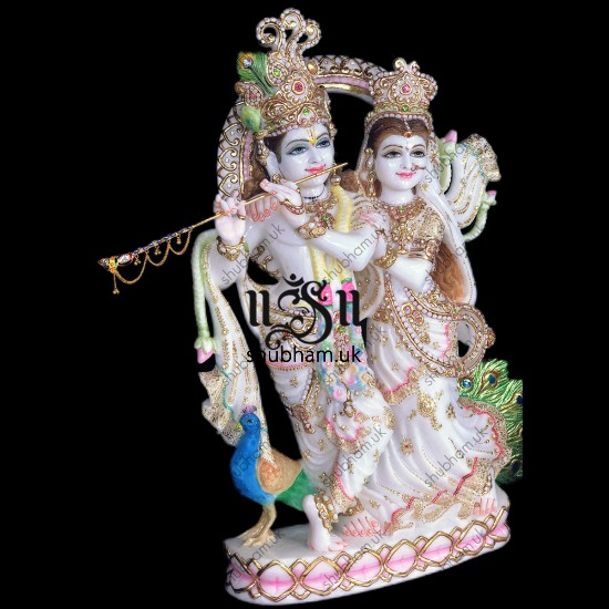 Exclusively Carved Radha Krishna Marble Statue UK - 27 inch