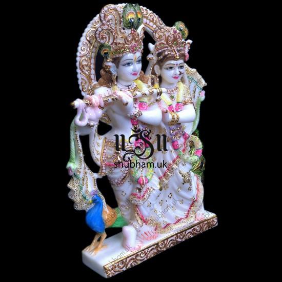 Beautifully Hand Carved Radha Krishna Marble Murti  UK - 18 inch
