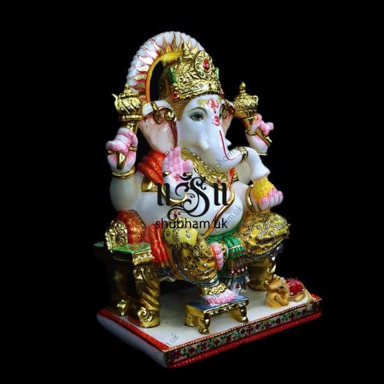 Hand Crafted Beautiful Marble Ganesh Ji Moorti - 15 inch