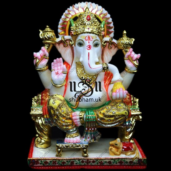 Hand Crafted Beautiful Marble Ganesh Ji Moorti - 15 inch