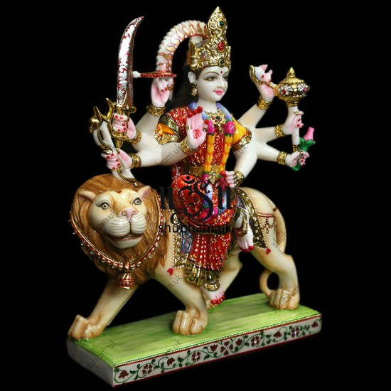 Beautiful Marble Murti Durga Mata - 18 inch